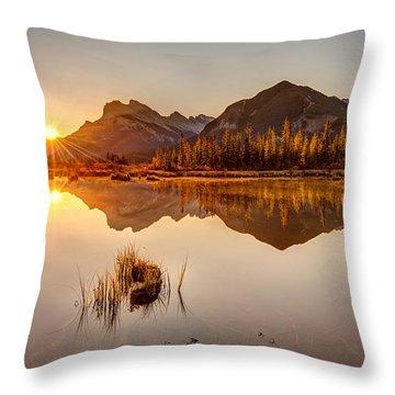 Sunrise At Banff's Vermilion Lakes  Throw Pillow