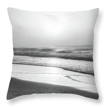 Throw Pillow featuring the photograph Sunrise At Beach Black And White  by John McGraw