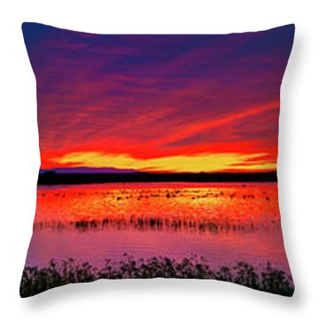 Sunrise At Bosque Del Apache Throw Pillow
