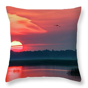 Throw Pillow featuring the photograph Sunrise At Cheyenne Bottoms 03 by Rob Graham