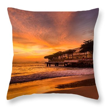 Sunrise At Copacabana Beach Rio De Janeiro Throw Pillow