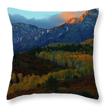 Sunrise At Dallas Divide During Autumn Throw Pillow by Jetson Nguyen
