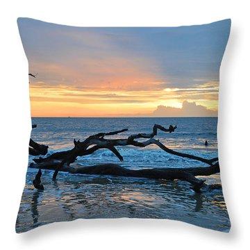 Sunrise At Driftwood Beach 1.4 Throw Pillow