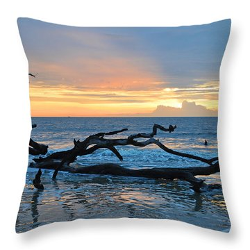 Sunrise At Driftwood Beach 1.4 Throw Pillow