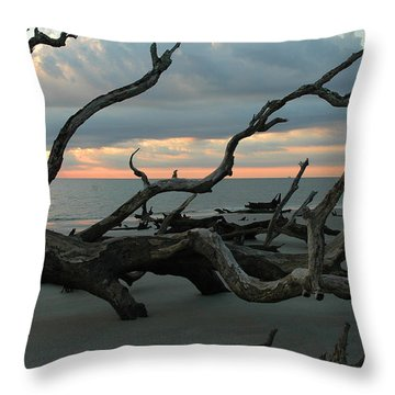 Sunrise At Driftwood Beach 4.1 Throw Pillow