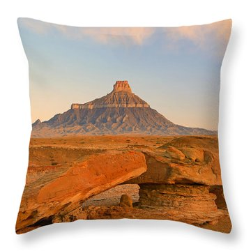 Sunrise At Factory Butte. Throw Pillow by Johnny Adolphson