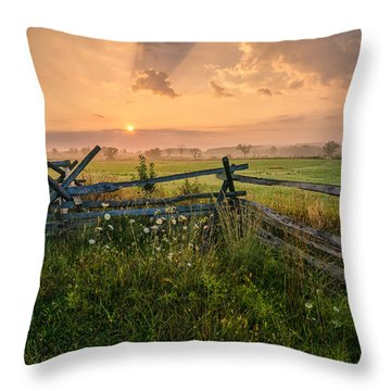 Sunrise At Gettysburg National Park Throw Pillow by Craig Szymanski