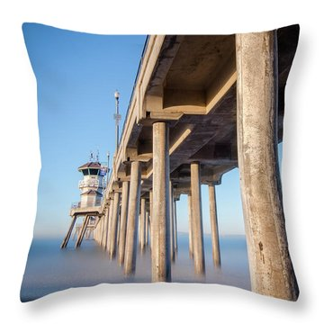 Throw Pillow featuring the photograph Sunrise At Huntington Beach Pier by Sean Foster