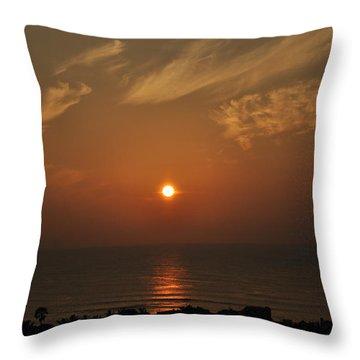Sunrise At Kanniyakumari India Throw Pillow