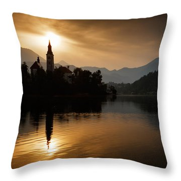 Throw Pillow featuring the photograph Sunrise At Lake Bled by Ian Middleton
