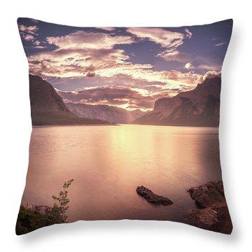 Sunrise At Lake Minnewanka Throw Pillow