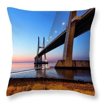 Sunrise At Lisbon, Vasco Da Gama Bridge Throw Pillow