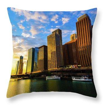 Sunrise At Navy Pier Throw Pillow