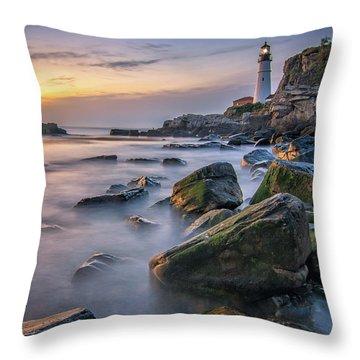Sunrise At Portland Head Light Throw Pillow