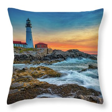Sunrise At Portland Head Light Throw Pillow