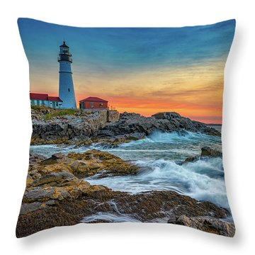 Sunrise At Portland Head Light Throw Pillow by Rick Berk