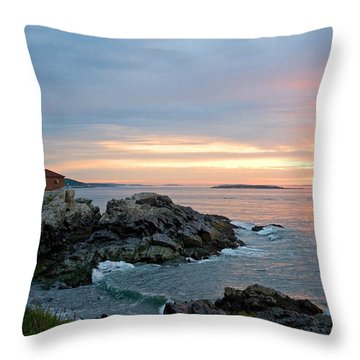 Throw Pillow featuring the photograph Sunrise At Portland Head Lighthouse by Alana Ranney