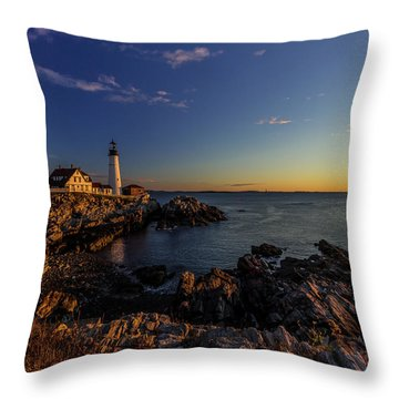 Sunrise At Portland Headlight Throw Pillow