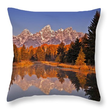 Sunrise At Schwabacher Landing  Throw Pillow