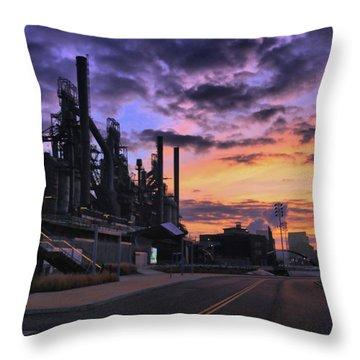 Throw Pillow featuring the photograph Sunrise At Steelstacks by DJ Florek