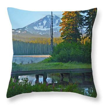 Sunrise At Takhlakh Lake Under Mt Adams Throw Pillow by Jack Moskovita
