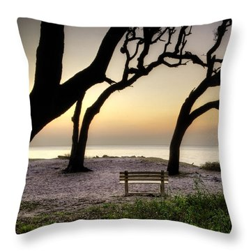 Sunrise At The Bench Throw Pillow