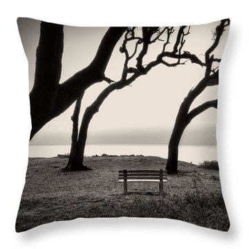 Throw Pillow featuring the photograph Sunrise At The Bench In Black And White by Greg Mimbs