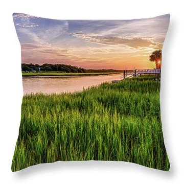 Sunrise At The Boat Ramp Throw Pillow