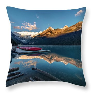 Sunrise At The Canoe Shack Of Lake Louise Throw Pillow
