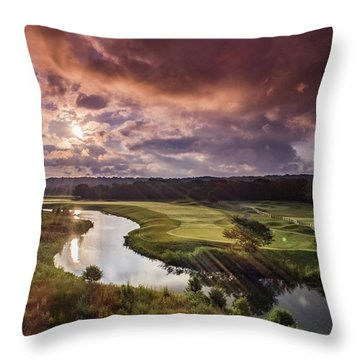 Sunrise At The Course Throw Pillow