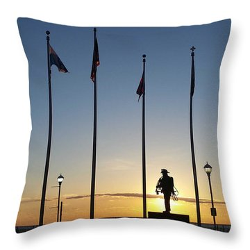 Sunrise At The Firefighters Memorial Throw Pillow
