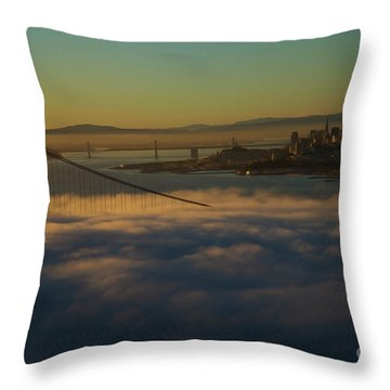Throw Pillow featuring the photograph Sunrise At The Golden Gate by David Bearden