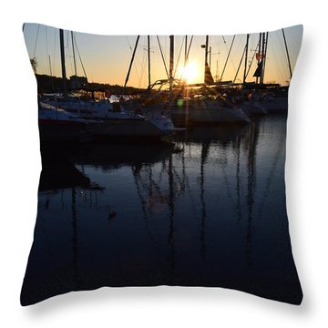 Sunrise At The Marina  Throw Pillow by Lyle Crump
