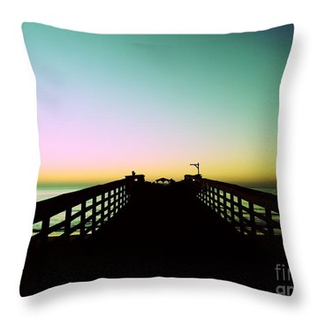 Sunrise At The Myrtle Beach State Park Pier In South Carolina Us Throw Pillow by Vizual Studio