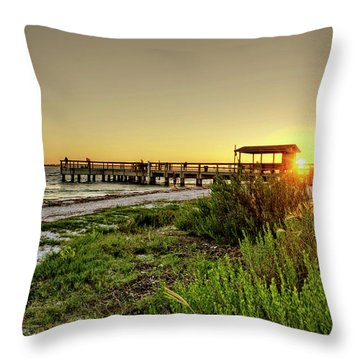 Throw Pillow featuring the photograph Sunrise At The Sanibel Island Pier by Chrystal Mimbs