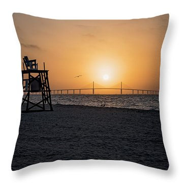 Sunrise At The Skyway Bridge Throw Pillow