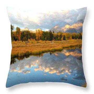 Sunrise At The Tetons Throw Pillow