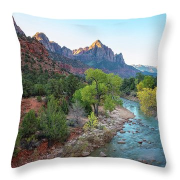 Sunrise At The Watchman - Zion National Park - Utah Throw Pillow