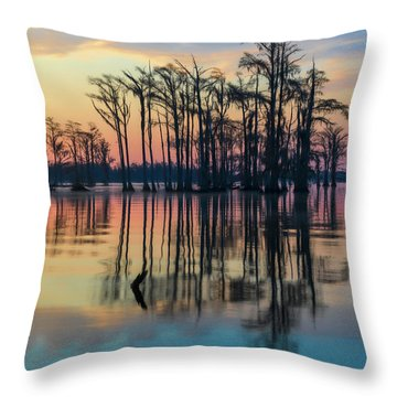 Sunrise, Bald Cypress Of Nc  Throw Pillow