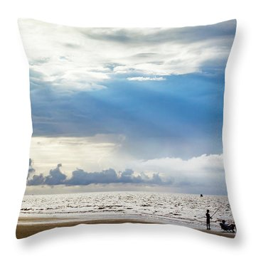 Sunrise Beach Fishing Throw Pillow