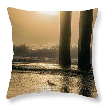Throw Pillow featuring the photograph Sunrise Bird At Beach  by John McGraw