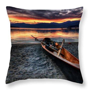 Sunrise Boat Throw Pillow