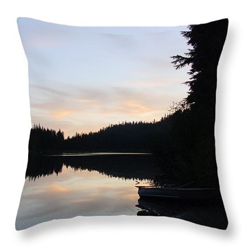 Sunrise Boat  Throw Pillow
