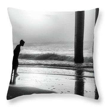 Throw Pillow featuring the photograph Sunrise Boy In Foggy Beach by John McGraw