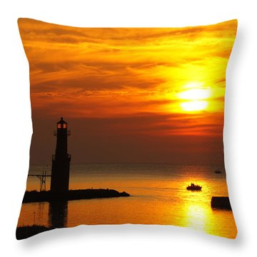 Sunrise Brushstrokes Throw Pillow
