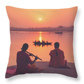 Sunrise By The Ganges Throw Pillow by Marji Lang