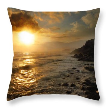 Sunrise By The Rocks Throw Pillow