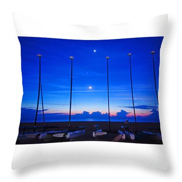 Sunrise Catamarans Moon Planets Throw Pillow