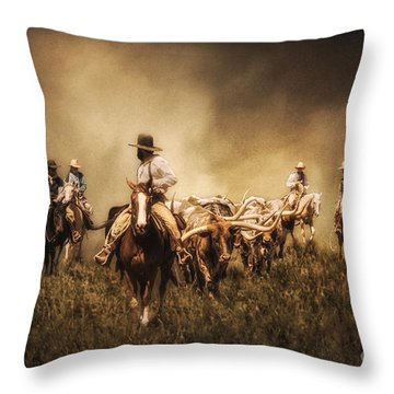 Sunrise Cattle Drive Throw Pillow by Priscilla Burgers