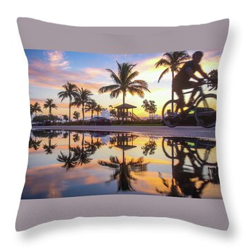 Sunrise Cyclist Delray Beach Florida Throw Pillow